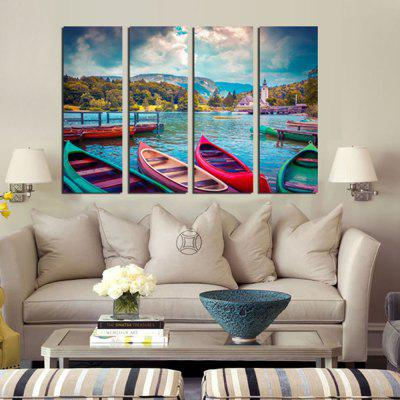 4PCS Boats Waterscape Print  Canvas Print Unframed Wall Art