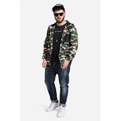 Male Fashionable Camouflage Split Joint Ultra-thin Outdoor Hooded Wind Coat