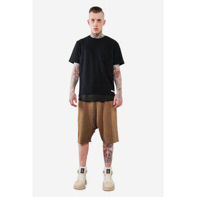 Male Fashionable Split Joint Drop Crotch Loose Casual Shorts