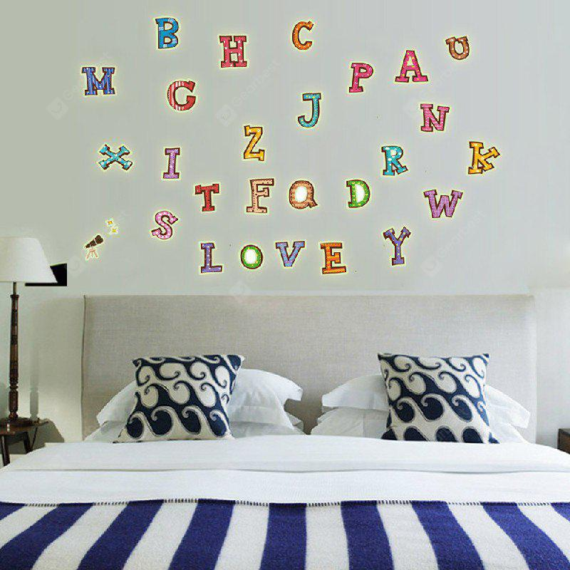 Fashion DIY Fluorescence English Letters Sticker mural