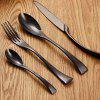 Parabolic Shaped Cutlery Stainless Steel Flatware 4PCS - BLACK
