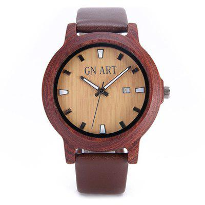 GNART Men Red Sandalwood Quartz Watch