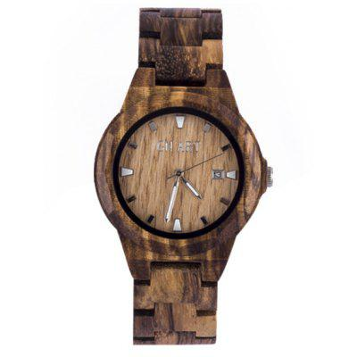 GNART Men Zebrawood Band Quartz Watch