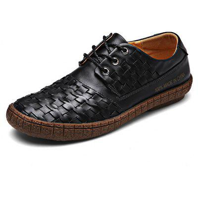 Manual Soft Slip Resistance Lace Up Oxford Shoes para Homens