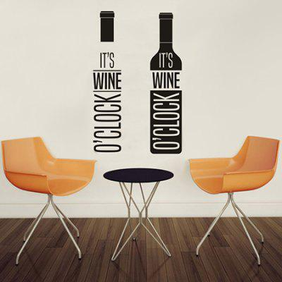 Buy BLACK Creative Red Wine Design DIY Wall Sticker for $4.41 in GearBest store