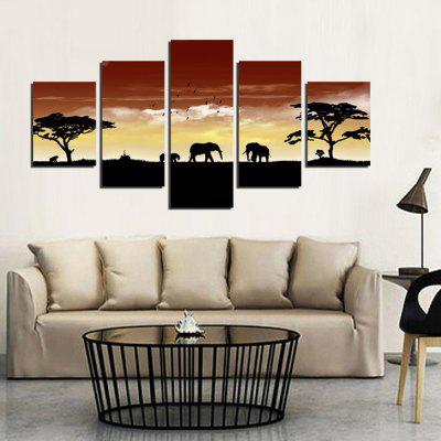 5PCS Savannah Sunset Elephants Printed Canvas Wall Sticker