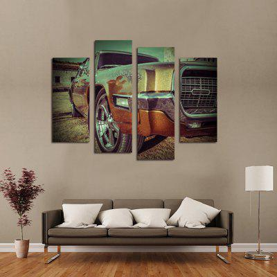 4PCS Retro Car Printed Canvas Wall Sticker