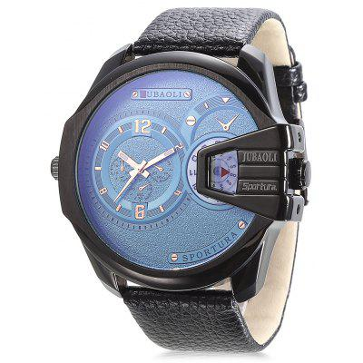 JUBAOLI 9905 Dual Movt Leather Band Men Watch