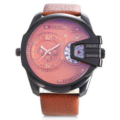 JUBAOLI 9905 Dual Movt Leather Band Men WatchMens Watches<br>JUBAOLI 9905 Dual Movt Leather Band Men Watch<br><br>Band material: Leather<br>Band size: 27 x 2.4cm<br>Brand: Jubaoli<br>Case material: Alloy<br>Clasp type: Pin buckle<br>Dial size: 5 x 5 x 1.2cm<br>Display type: Analog<br>Movement type: Quartz watch<br>Package Contents: 1 x Watch, 1 x Box<br>Package size (L x W x H): 8.50 x 8.00 x 5.30 cm / 3.35 x 3.15 x 2.09 inches<br>Package weight: 0.1650 kg<br>Product weight: 0.1100 kg<br>Shape of the dial: Round<br>Watch mirror: Acrylic<br>Watch style: Fashion, Retro<br>Watches categories: Men<br>Wearable length: 19 - 24.5cm