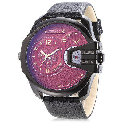 Buy RED JUBAOLI 9905 Dual Movt Leather Band Men Watch for $15.90 in GearBest store