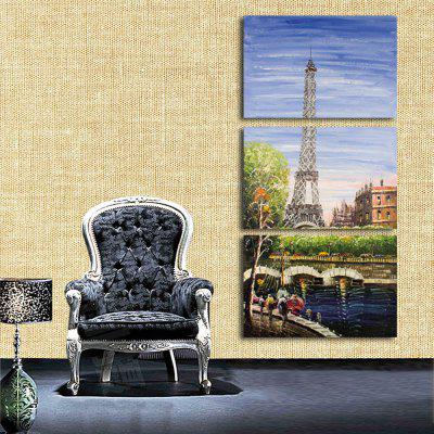 3PCS Vertical Style Tower Landscape Printed Canvas Wall Sticker