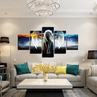 5PCS Winged Girl Printed Canvas Wall Sticker