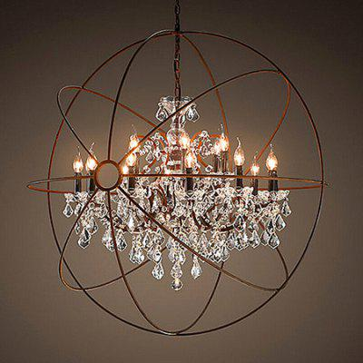 Buy BROWN American Creative Globe Crystal Chandelier Candle 220V for $775.70 in GearBest store