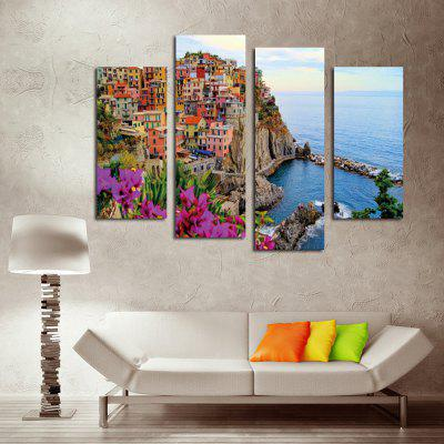 4PCS Seaside City Printed Canvas Wall Sticker