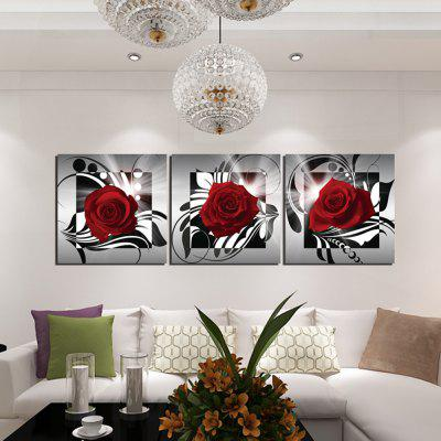3PCS Blooming Rose Printed Canvas Wall Sticker