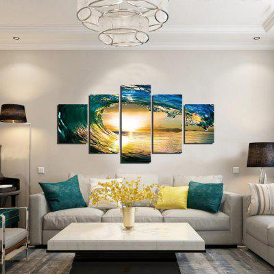 Buy COLORMIX 5PCS Sea Waves Sunset Printed Canvas Wall Sticker for $18.97 in GearBest store