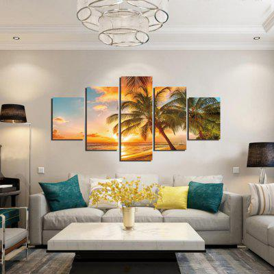 5PCS Coconut Tree Sunset Seascape Printed Canvas Wall Sticker
