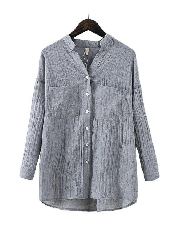 Buy Loose Cotton Flax Women Blouse GRAY