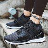 Male Breathable Lace Up Walking Sports Athletic Shoes - BLACK