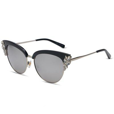 Buy REFLECTIVE WHITE COLOR Fashion Style Cat Eye Unisex Sunglasses for $9.91 in GearBest store