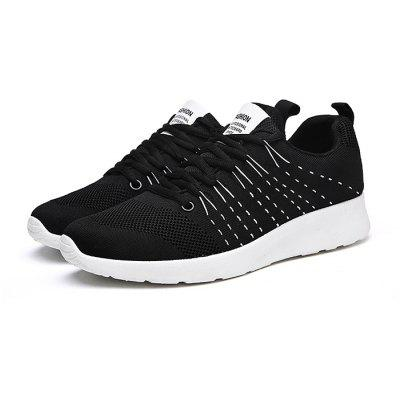 Buy BLACK Male Athletic Weave Breathable Lace Up Sports Sneakers for $31.06 in GearBest store