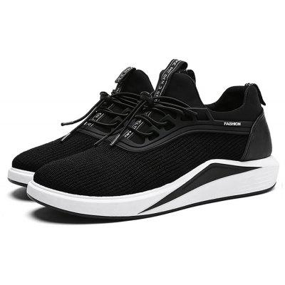 Male Athletic Slip Resistance Lace Up Knitted Sneakers