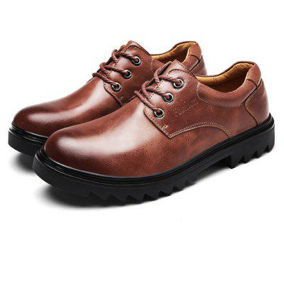 Slip Resistance Soft Stitching Lace Up Leather Shoes