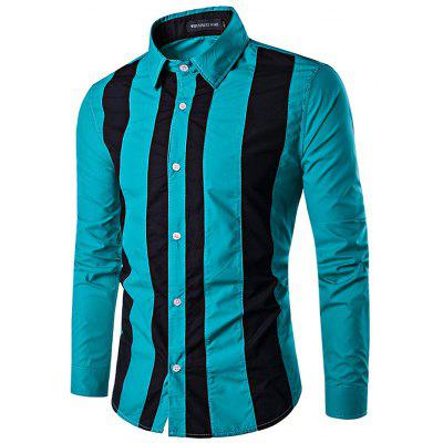 Casual Button Down Long Sleeve Striped Shirt for Men