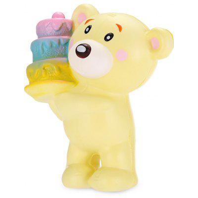 Buy YELLOW Cartoon Cake-holding Bear PU Foam Squishy Toy for $5.73 in GearBest store