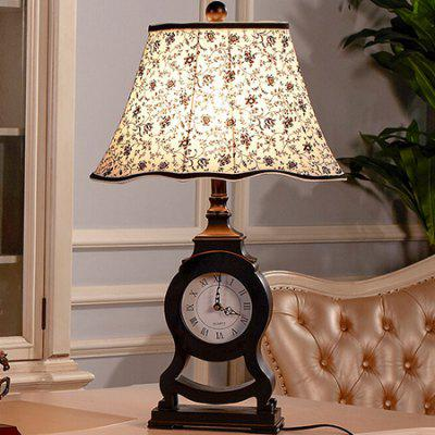 E27 Neo-classical Design Clock Bedroom Desk Lamp