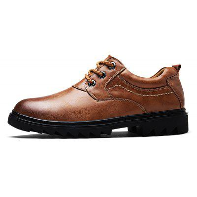 Male Slip Resistance Stitching Lace Up Leather Formal Shoes