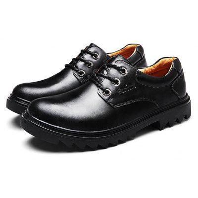 Male Slip Resistance Soft Lace Up Leather Formal Shoes