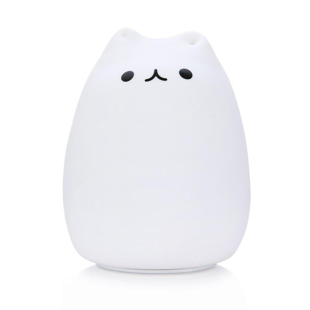 WHITE Cute Cat Sensitive Tap Control LED Children Night Light