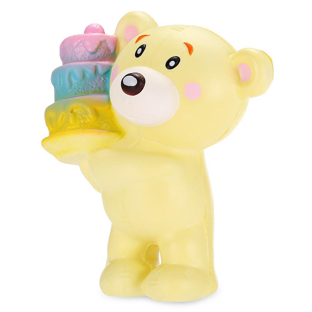 YELLOW Cartoon Cake-holding Bear PU Foam Squishy Toy