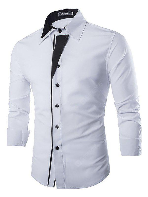 WHITE Casual Fashion Classical Long Sleeve Shirt