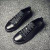 Simple Slip Resistance Lace Up Leather Shoes for Men - BLACK