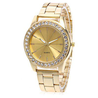 Women Simple Steel Band Wrist Watch with Artificial Diamonds