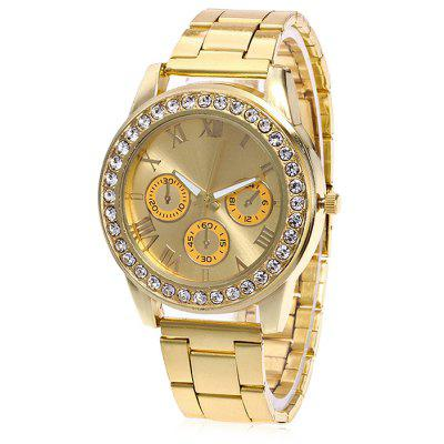 Women Exquisite Quartz Watch with Artificial Diamonds