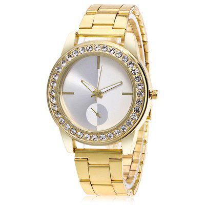 Women Round Dial Quartz Watch with Artificial Diamonds