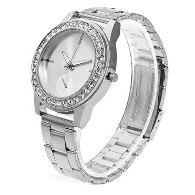 Women Round Dial Quartz Watch with Artificial DiamondsWomens Watches<br>Women Round Dial Quartz Watch with Artificial Diamonds<br><br>Band material: Steel<br>Band size: 24.5 x 2cm<br>Case material: Steel<br>Clasp type: Butterfly clasp<br>Dial size: 3.5 x 3.5 x 1cm<br>Display type: Analog<br>Movement type: Quartz watch<br>Package Contents: 1 x Watch, 1 x Box<br>Package size (L x W x H): 8.00 x 7.50 x 5.50 cm / 3.15 x 2.95 x 2.17 inches<br>Package weight: 0.1000 kg<br>Product size (L x W x H): 24.50 x 3.50 x 1.00 cm / 9.65 x 1.38 x 0.39 inches<br>Product weight: 0.0500 kg<br>Shape of the dial: Round<br>Watch mirror: Acrylic<br>Watch style: Fashion<br>Watches categories: Women<br>Water resistance : No