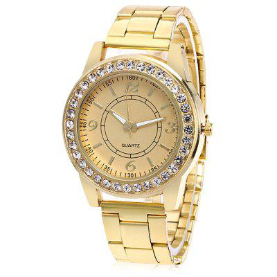 Women Steel Band Quartz Watch with Artificial Diamonds