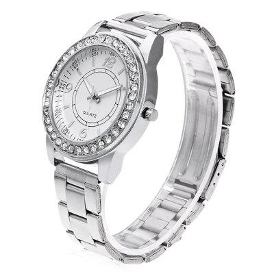 Women Steel Band Quartz Watch with Artificial DiamondsWomens Watches<br>Women Steel Band Quartz Watch with Artificial Diamonds<br><br>Band material: Steel<br>Band size: 24.5 x 2cm<br>Case material: Steel<br>Clasp type: Butterfly clasp<br>Dial size: 3.5 x 3.5 x 1cm<br>Display type: Analog<br>Movement type: Quartz watch<br>Package Contents: 1 x Watch, 1 x Box<br>Package size (L x W x H): 8.00 x 7.50 x 5.50 cm / 3.15 x 2.95 x 2.17 inches<br>Package weight: 0.1000 kg<br>Product size (L x W x H): 24.50 x 3.50 x 1.00 cm / 9.65 x 1.38 x 0.39 inches<br>Product weight: 0.0500 kg<br>Shape of the dial: Round<br>Watch mirror: Acrylic<br>Watch style: Fashion<br>Watches categories: Women<br>Water resistance : No