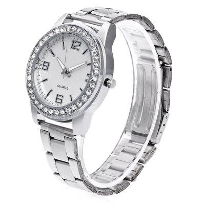 Female Fashionable Quartz Watch with Artificial DiamondsWomens Watches<br>Female Fashionable Quartz Watch with Artificial Diamonds<br><br>Band material: Steel<br>Band size: 24.5 x 2cm<br>Case material: Steel<br>Clasp type: Butterfly clasp<br>Dial size: 3.5 x 3.5 x 1cm<br>Display type: Analog<br>Movement type: Quartz watch<br>Package Contents: 1 x Watch, 1 x Box<br>Package size (L x W x H): 8.00 x 7.50 x 5.50 cm / 3.15 x 2.95 x 2.17 inches<br>Package weight: 0.1000 kg<br>Product size (L x W x H): 24.50 x 3.50 x 1.00 cm / 9.65 x 1.38 x 0.39 inches<br>Product weight: 0.0500 kg<br>Shape of the dial: Round<br>Watch mirror: Acrylic<br>Watch style: Fashion<br>Watches categories: Women<br>Water resistance: No