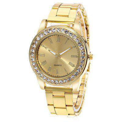 Women Retro Quartz Watch with Artificial Diamonds