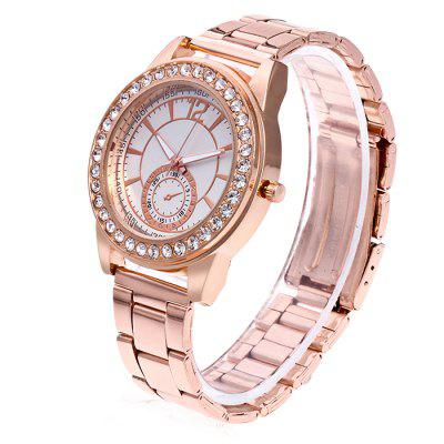Women Fashionable Metal Quartz Watch with Artificial DiamondsWomens Watches<br>Women Fashionable Metal Quartz Watch with Artificial Diamonds<br><br>Band material: Steel<br>Band size: 24.5 x 2cm<br>Case material: Steel<br>Clasp type: Butterfly clasp<br>Dial size: 3.5 x 3.5 x 1cm<br>Display type: Analog<br>Movement type: Quartz watch<br>Package Contents: 1 x Watch, 1 x Box<br>Package size (L x W x H): 8.00 x 7.50 x 5.50 cm / 3.15 x 2.95 x 2.17 inches<br>Package weight: 0.1000 kg<br>Product size (L x W x H): 24.50 x 3.50 x 1.00 cm / 9.65 x 1.38 x 0.39 inches<br>Product weight: 0.0500 kg<br>Shape of the dial: Round<br>Watch mirror: Acrylic<br>Watch style: Fashion<br>Watches categories: Women<br>Water resistance: No