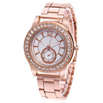 Women Fashionable Metal Quartz Watch with Artificial Diamonds