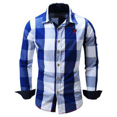 Male Simple Classic Long Sleeve Checked Shirt