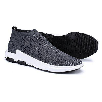 Male Knitted Slip On High Top Running Sneakers
