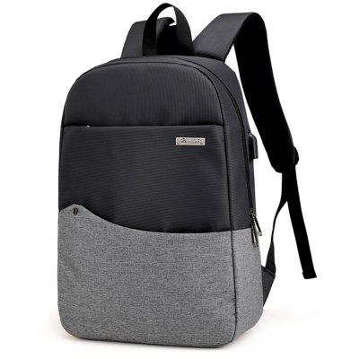 Buy DEEP GRAY Chic Splicing Backpack with USB Port for $26.35 in GearBest store