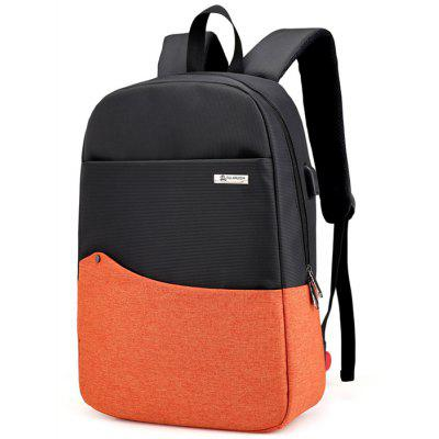 Buy BRIGHT ORANGE Chic Splicing Backpack with USB Port for $26.35 in GearBest store